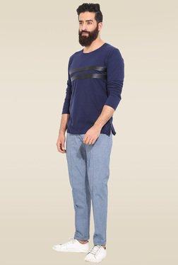 Mr. Button Blue Cotton Slim Fit T-Shirt
