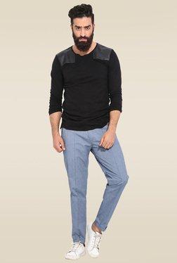 Mr. Button Black Slim Fit Round Neck Cotton T-Shirt