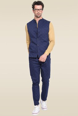 Mr. Button Navy Printed Nehru Jacket