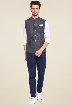 Mr. Button Grey Checkered Nehru Jacket