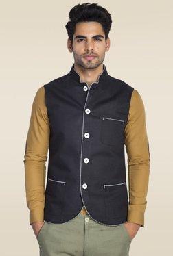 Mr. Button Black Sleeveless Nehru Jacket