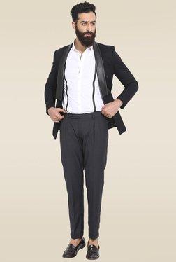 Mr. Button Black Slim Fit Cotton Blazer