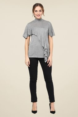 Femella Grey Textured Ruffle Top