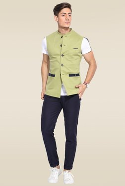 Mr. Button Green Printed Nehru Jacket