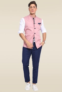 Mr. Button Pink Sleeveless Nehru Jacket
