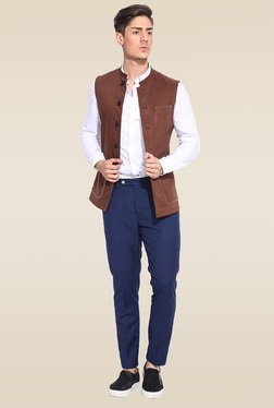 Mr. Button Brown Sleeveless Nehru Jacket