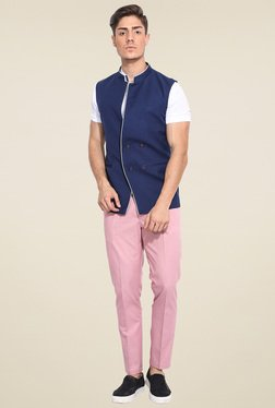 Mr. Button Navy Sleeveless Nehru Jacket