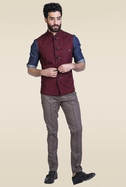 Mr. Button Maroon Cotton Nehru Jacket