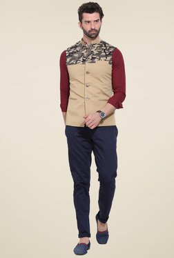 Mr. Button Beige Printed Nehru Jacket