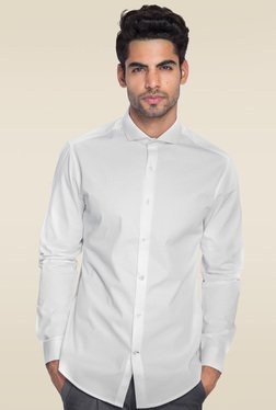 Mr. Button White Cotton Slim Fit Solid Shirt