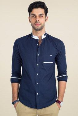 Mr. Button Blue Cotton Mandarin Collar Shirt