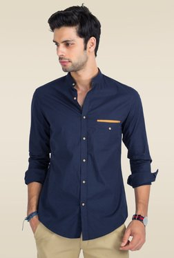 Mr. Button Blue Cotton Mandarin Collar Slim Fit Shirt