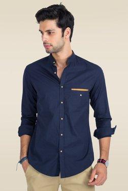 Mr. Button Blue Cotton Mandarin Collar Slim Fit Shirt
