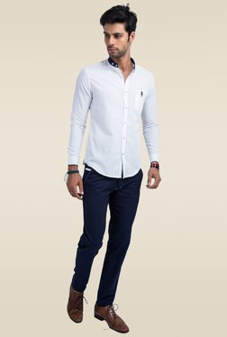 Mr. Button White Mandarin Collar Slim Fit Shirt