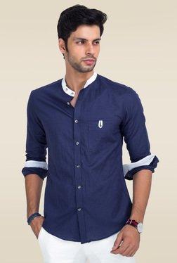 Mr. Button Blue Slim Fit Solid Shirt