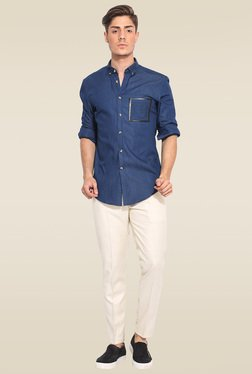 Mr. Button Blue Cotton Button Down Collar Shirt