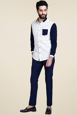 Mr. Button White Solid Cotton Slim Fit Shirt