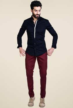 Mr. Button Black Full Sleeves Slim Fit Shirt