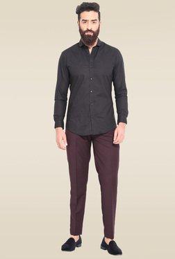 Mr. Button Black Full Sleeves Cutaway Collar Shirt