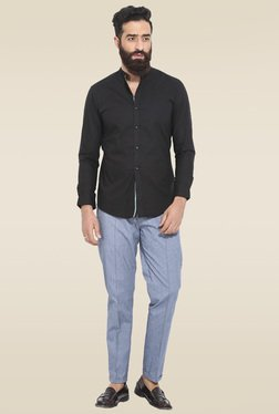 Mr. Button Black Full Sleeves Slim Fit Cotton Shirt