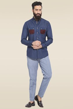 Mr. Button Navy Slim Fit Solid Shirt