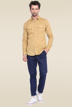 Mr. Button Khaki Full Sleeves Slim Fit Shirt