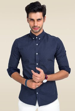 Mr. Button Blue Button Down Collar Cotton Shirt