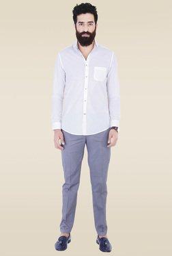 Mr. Button White Cotton Cutaway Collar Shirt