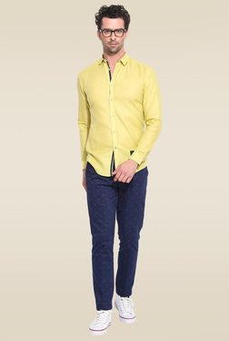 Mr. Button Lime Green Full Sleeves Shirt