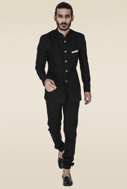 Mr. Button Black Slim Fit Bandhgala Blazer