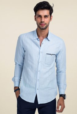 Mr. Button Blue Full Sleeves Slim Fit Solid Shirt