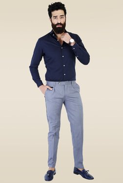 Mr. Button Blue Full Sleeves Slim Fit Cotton Shirt