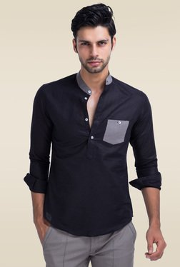 Mr. Button Black Slim Fit Solid Tunic