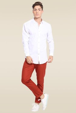 Mr. Button White Full Sleeves Slim Fit Cotton Shirt
