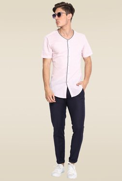 Mr. Button Pink Slim Fit Half Sleeves Shirt