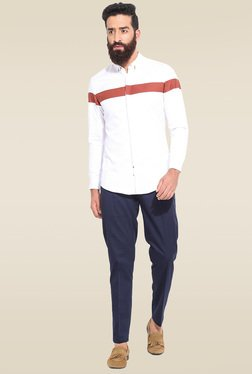 Mr. Button White Slim Fit Full Sleeves Shirt