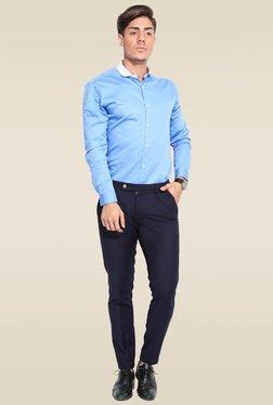 Mr. Button Blue Cotton Cutaway Collar Shirt