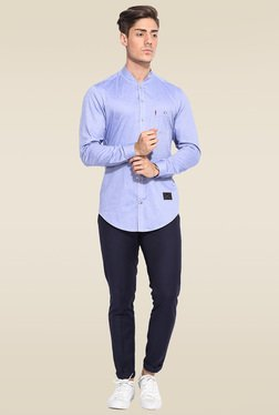 Mr. Button Blue Full Sleeves Cotton Shirt