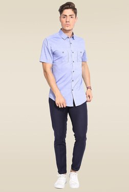 Mr. Button Blue Cotton Half Sleeves Shirt