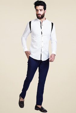 Mr. Button White Slim Fit Mandarin Collar Shirt