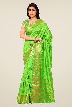 Triveni Green Paisley Print Art Silk Jacquard Saree