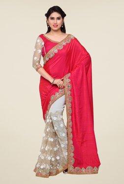 Triveni Beige & Red Embroidered Art Silk Lycra Saree