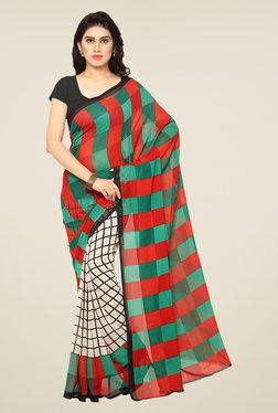 Triveni Green & Red Checks Art Silk Saree