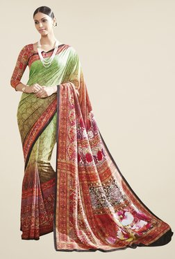 Triveni Green & Red Printed Art Silk Saree