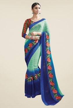 Triveni Green & Blue Striped Chiffon Faux Georgette Saree