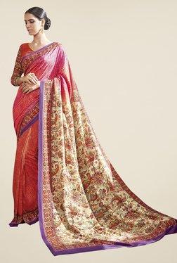 Triveni Orange Printed Art Silk Saree - Mp000000000863365