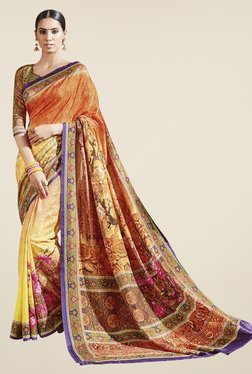 Triveni Yellow & Orange Printed Art Silk Saree