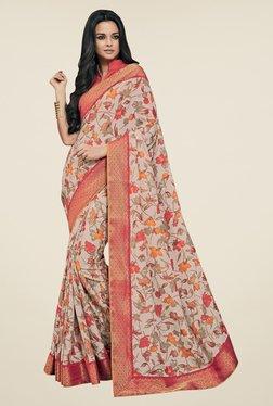 Triveni Beige & Peach Floral Print Art Silk Saree
