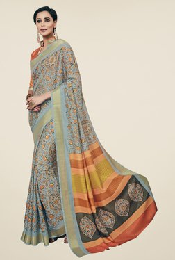 Triveni Grey Floral Print Art Silk Saree