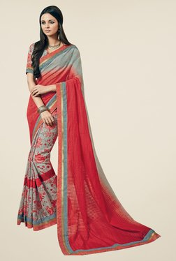 Triveni Grey & Coral Floral Print Art Silk Saree